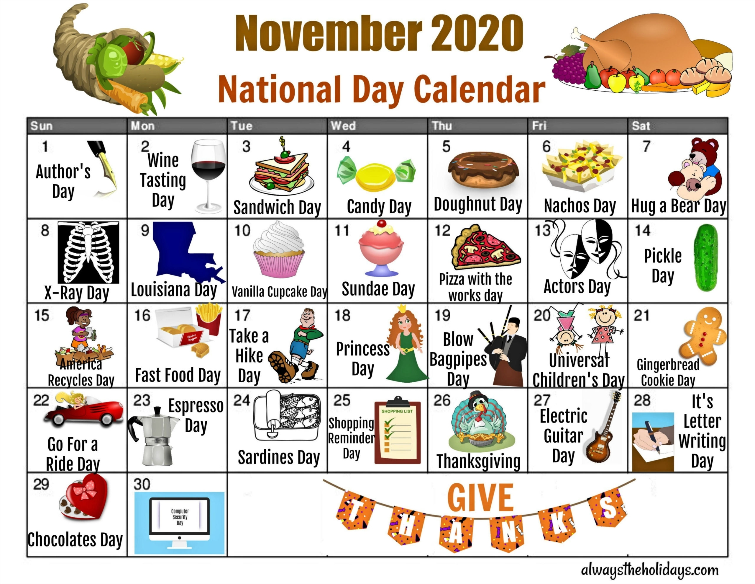 Take Printable Calendar 2021 National Days List
