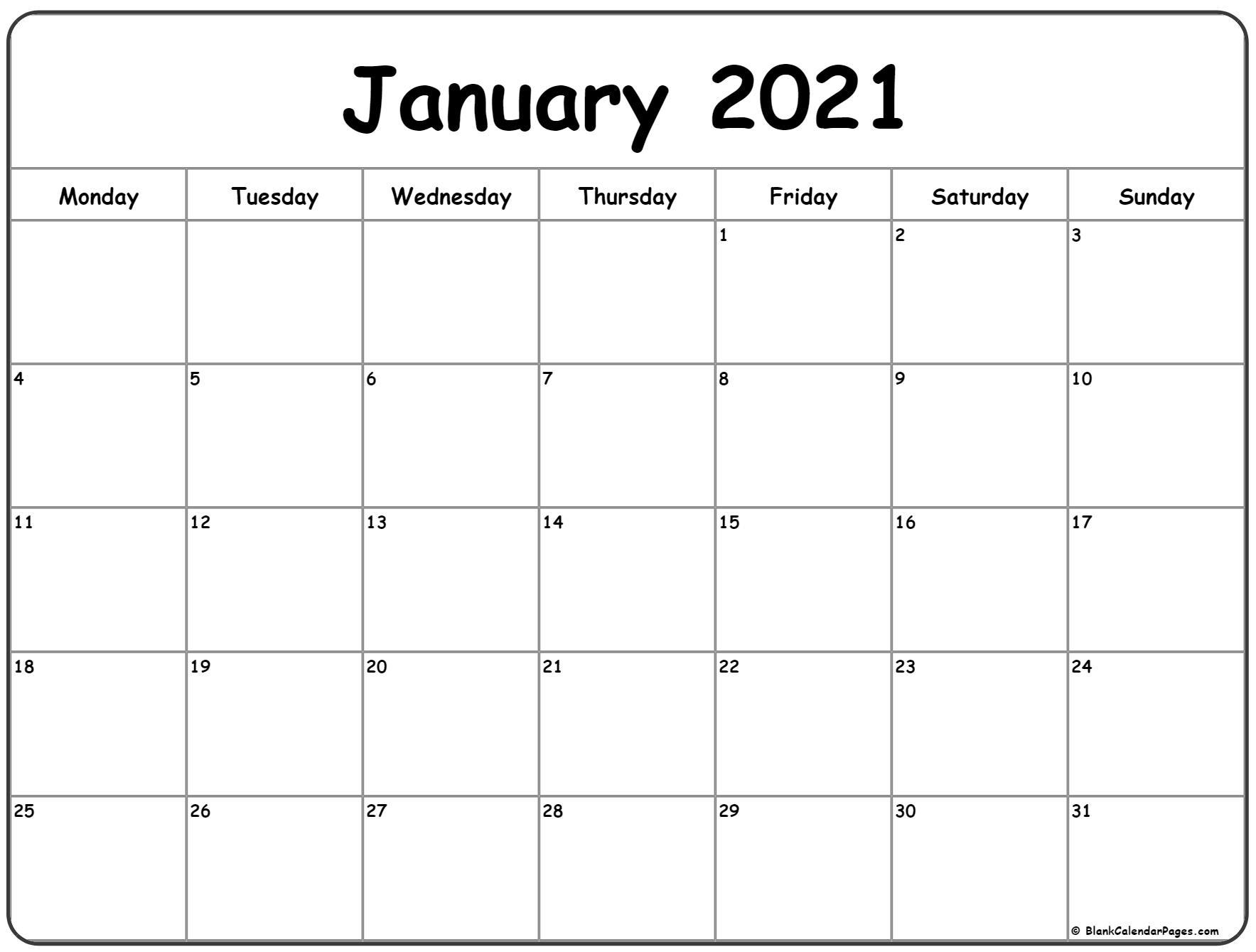 Take Printable Calendar 2021 Starts On Monday