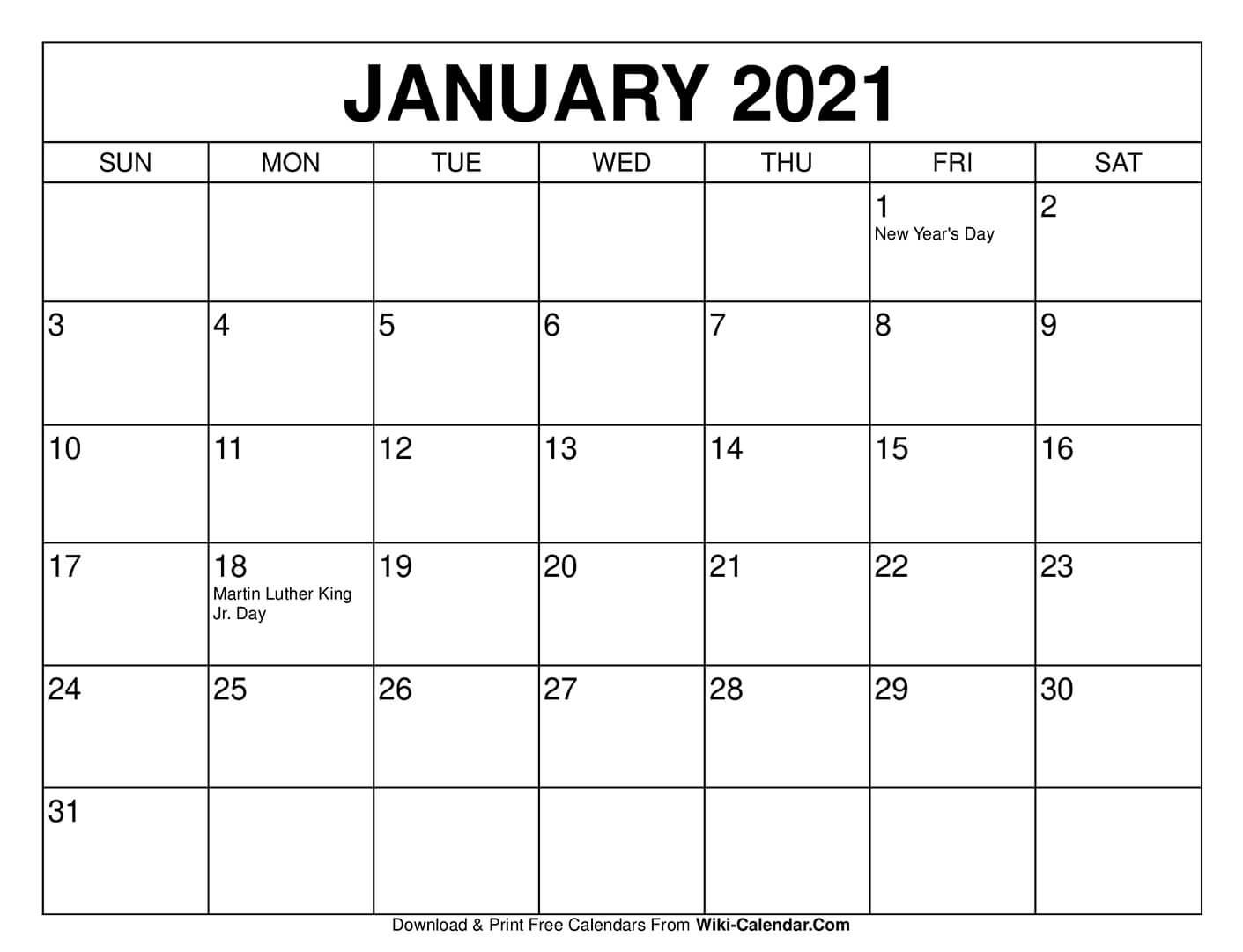 Take Printable Calendar 2021