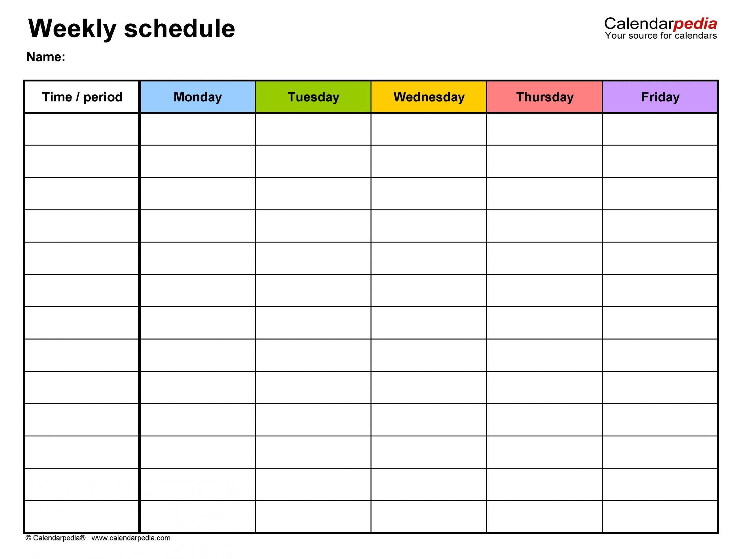Take Printable Monday Through Friday Schedule