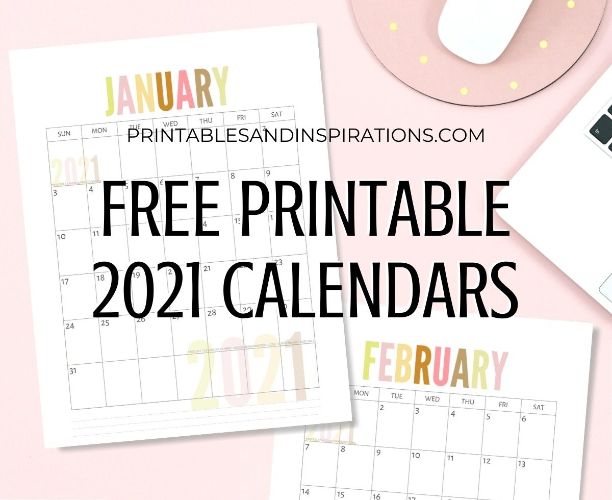 Take Printable Monthly Calander 2021 No Download