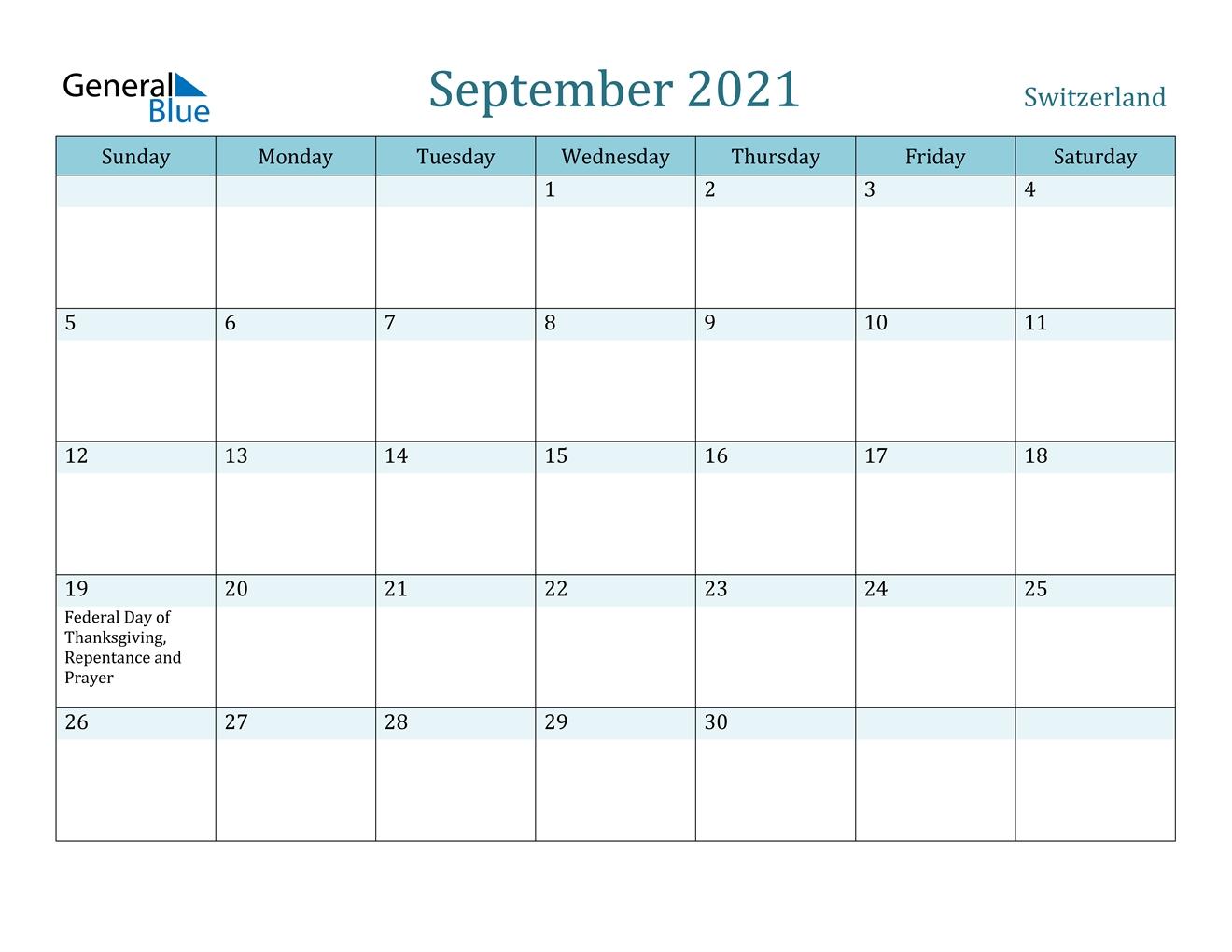 Take Printable Prayer Calendar For September 2021