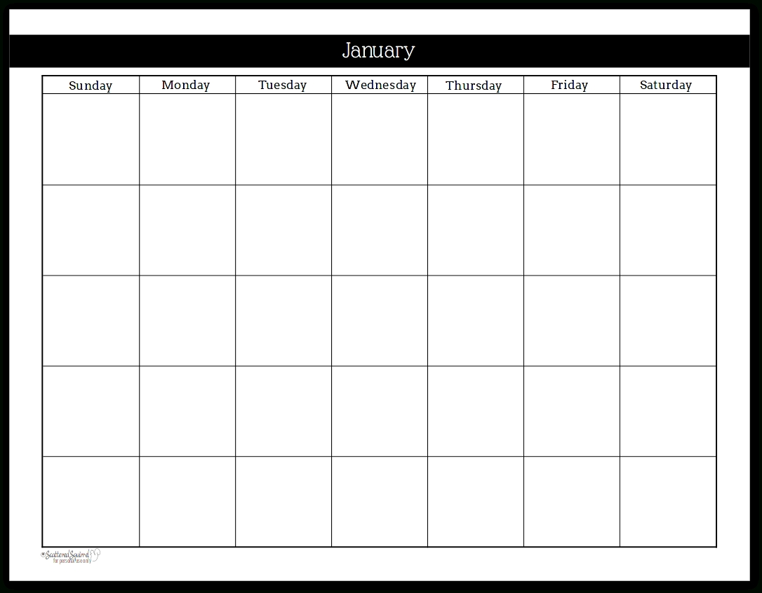 Take Printable Undated Month