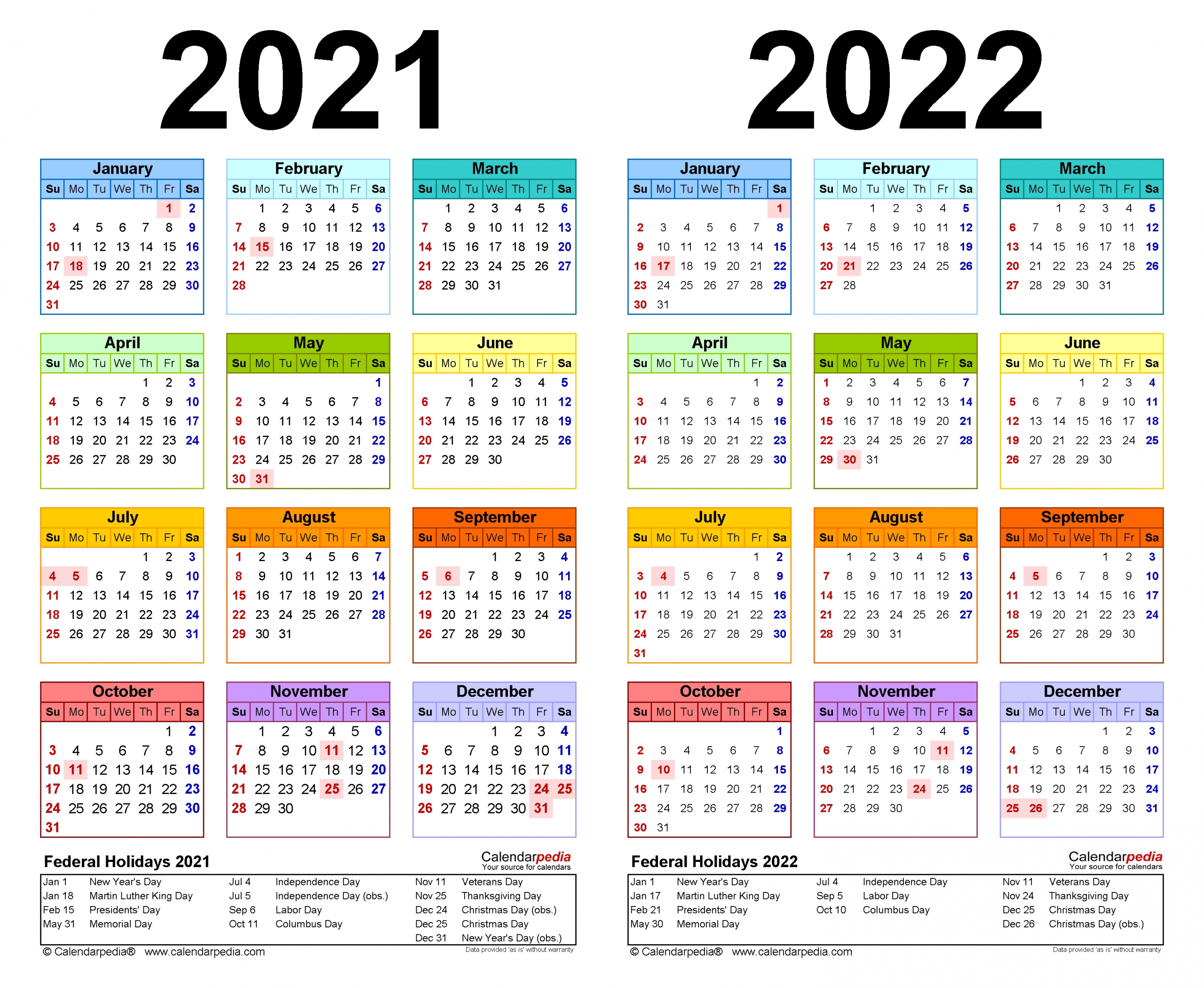 Take Printable Yearly Calendars 2021 2022