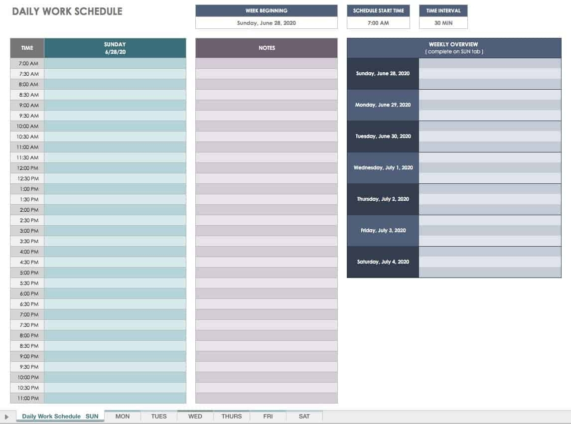 Take Sample Schedule With 15 Min Increments