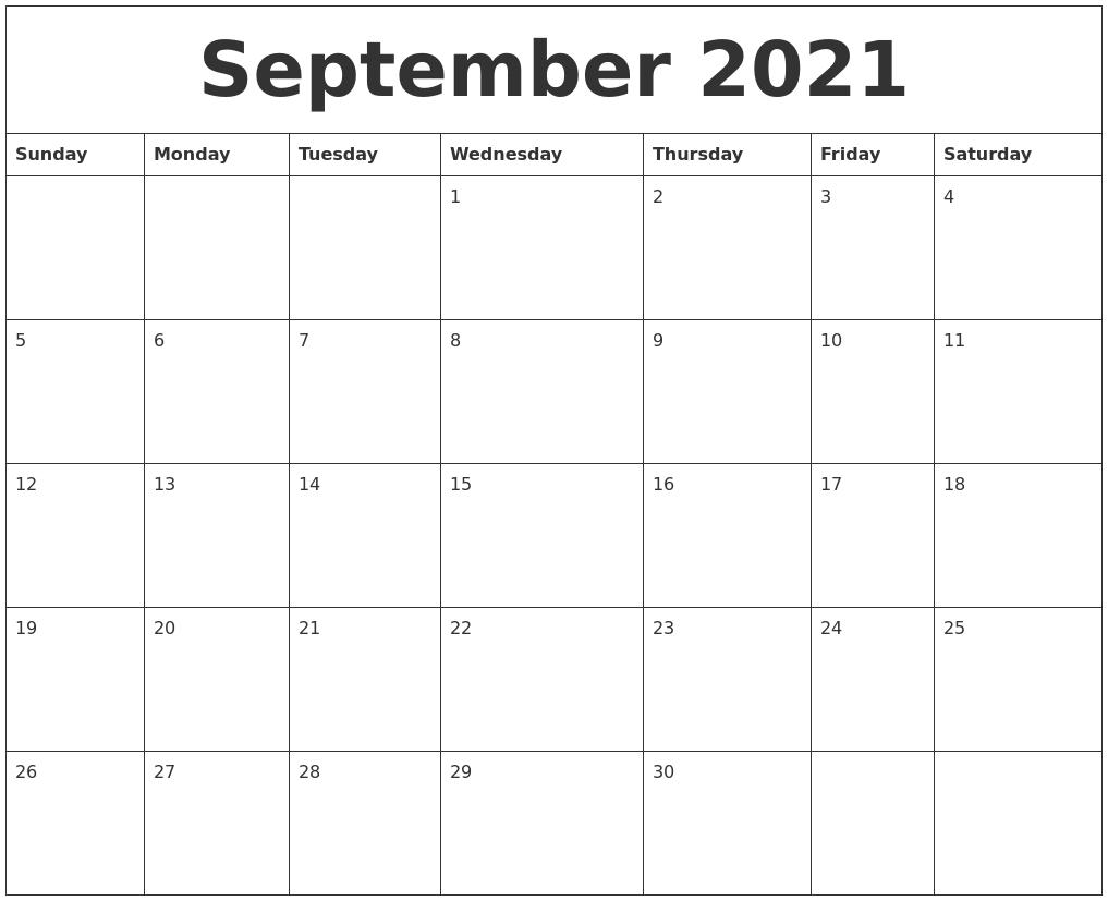 Take September 2021 Calendar Printable Free Template