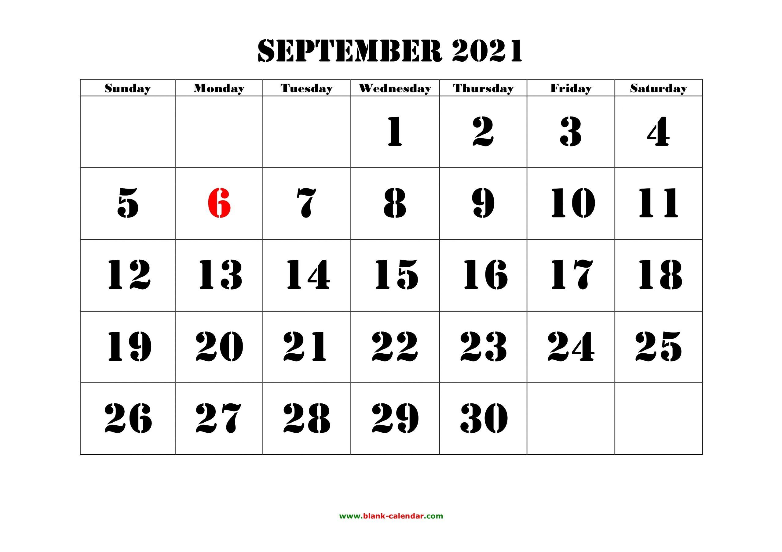 Take September 2021 Calendar Printable Images