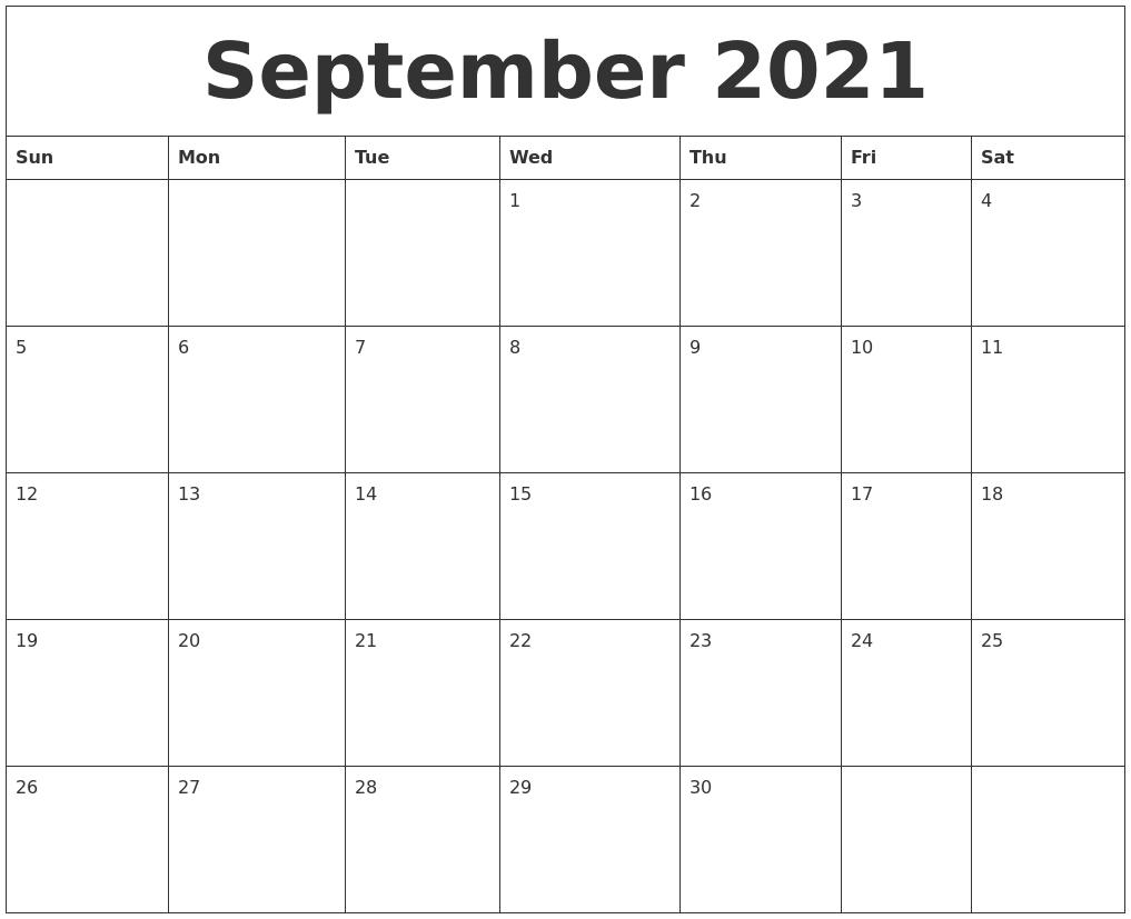 Take September Calendar 2021 Printable Free Pretty