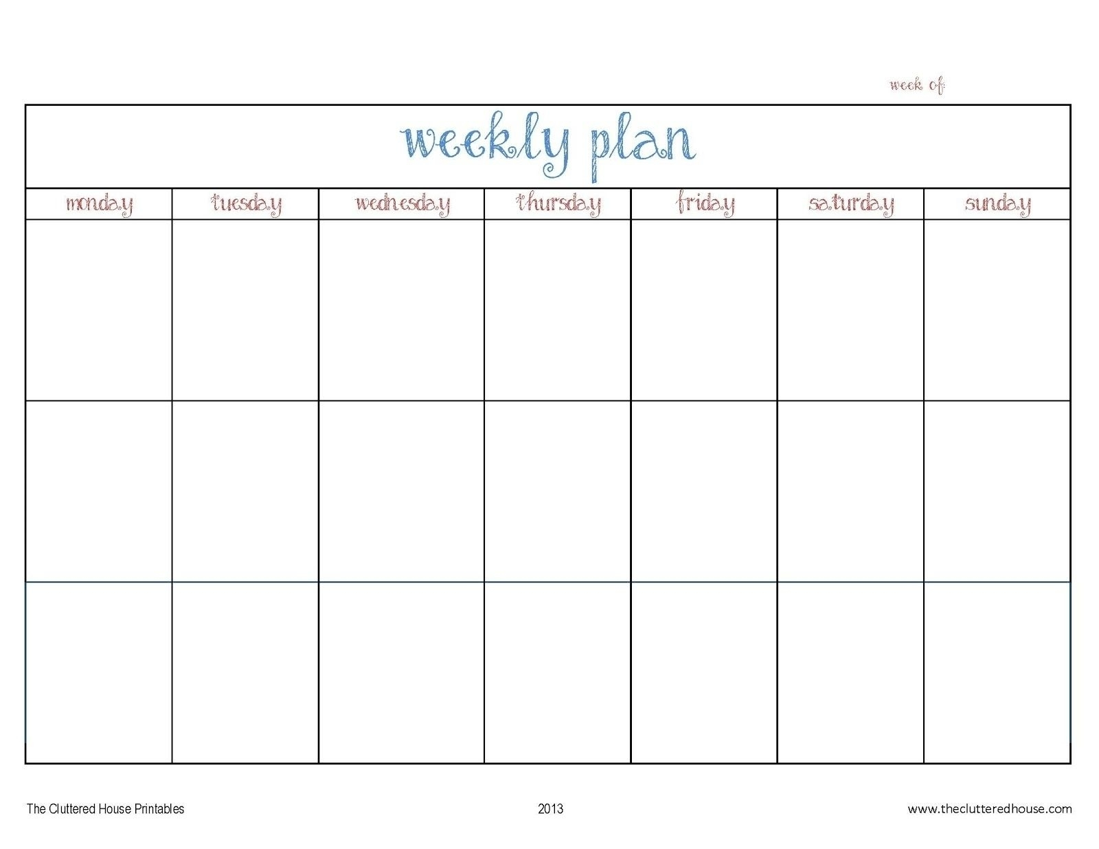 Take Seven Day Calendar Printable