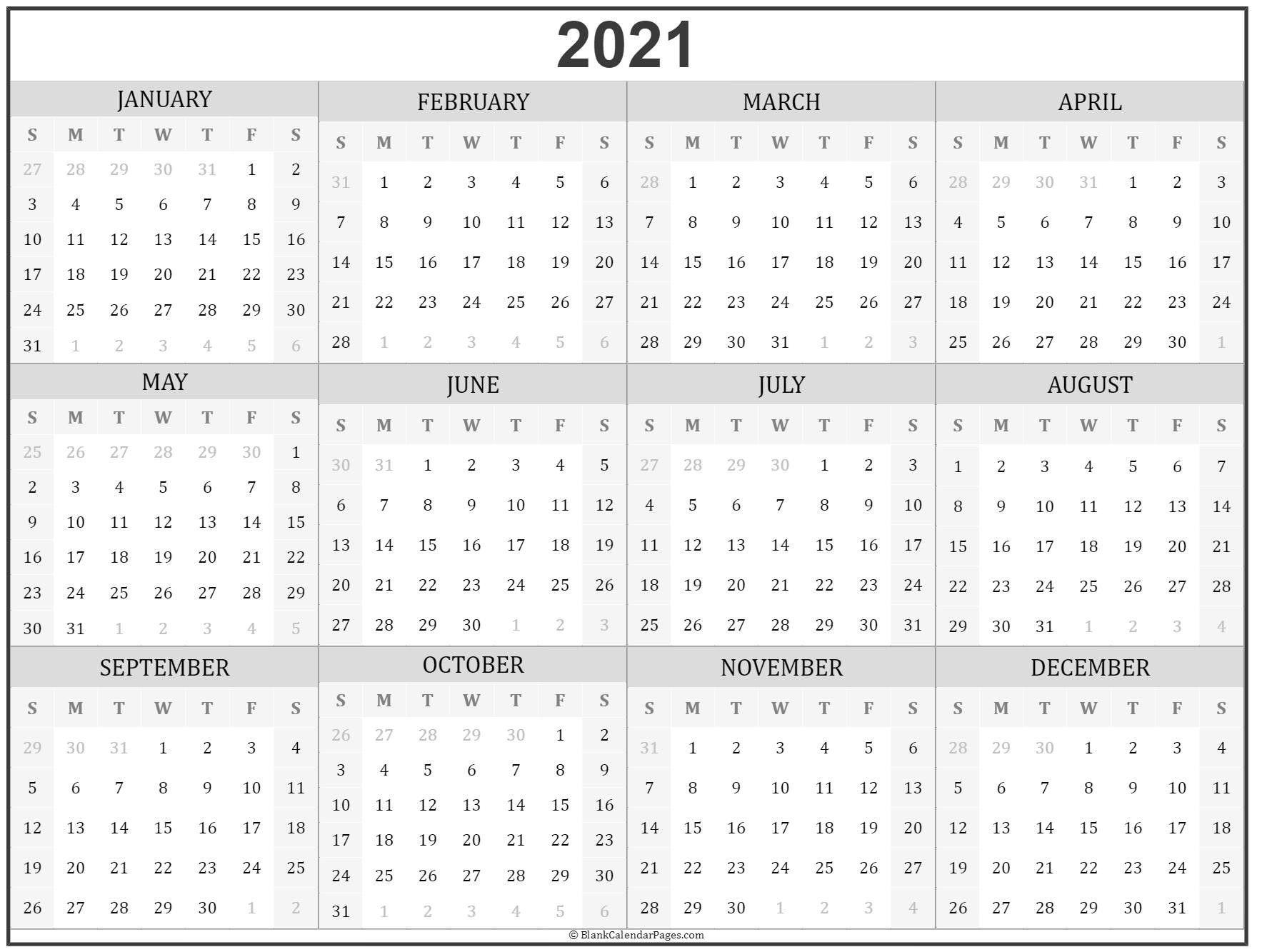 Take Small Printable 2021 Yearly Calendar