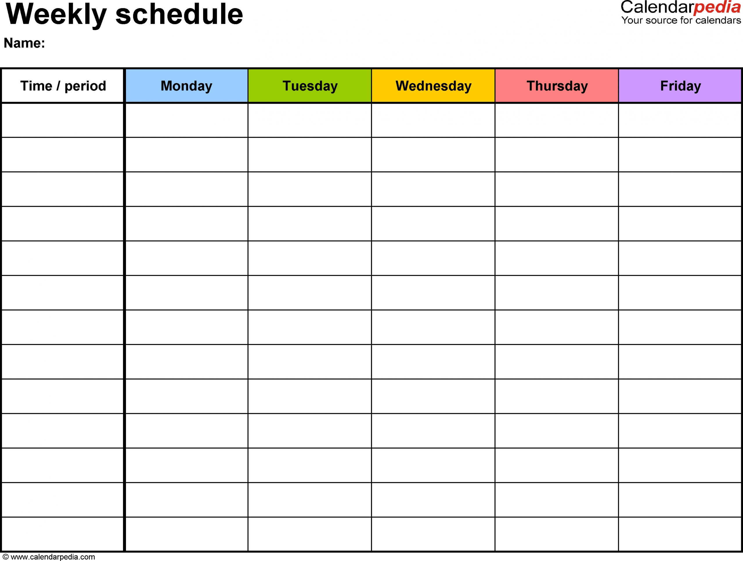 Take Template For Monday Thru Friday