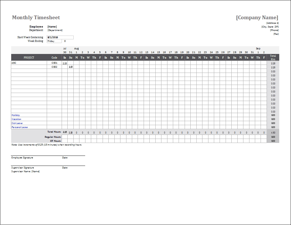 Take Time Sheet Free 15 Min Increments