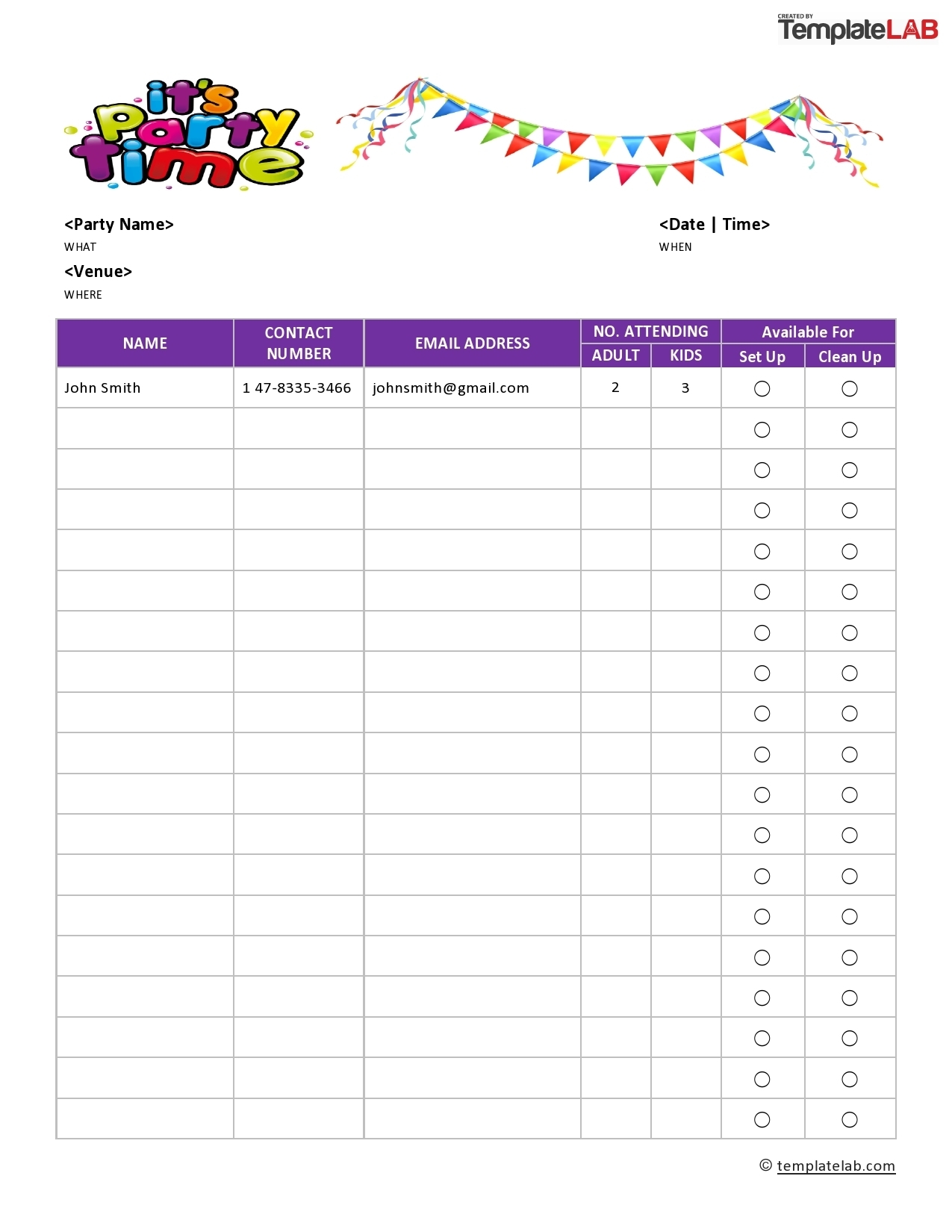 Take Time Slot Sign Up Sheet Template Excel