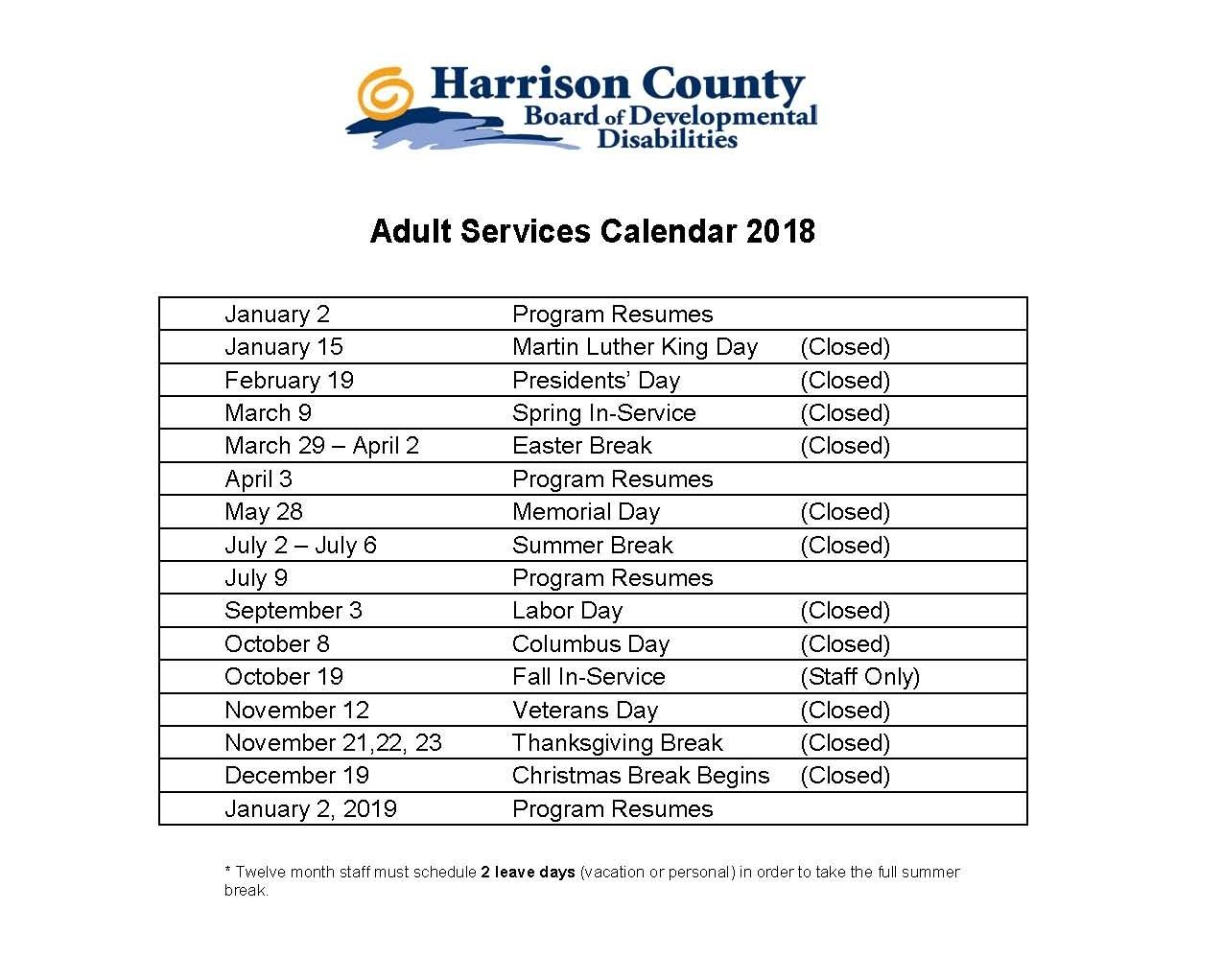 Take Twelve Month Inservice Calendar