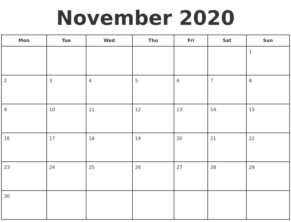 Take Vertex Blank Monthly Calendar Starts Mondat