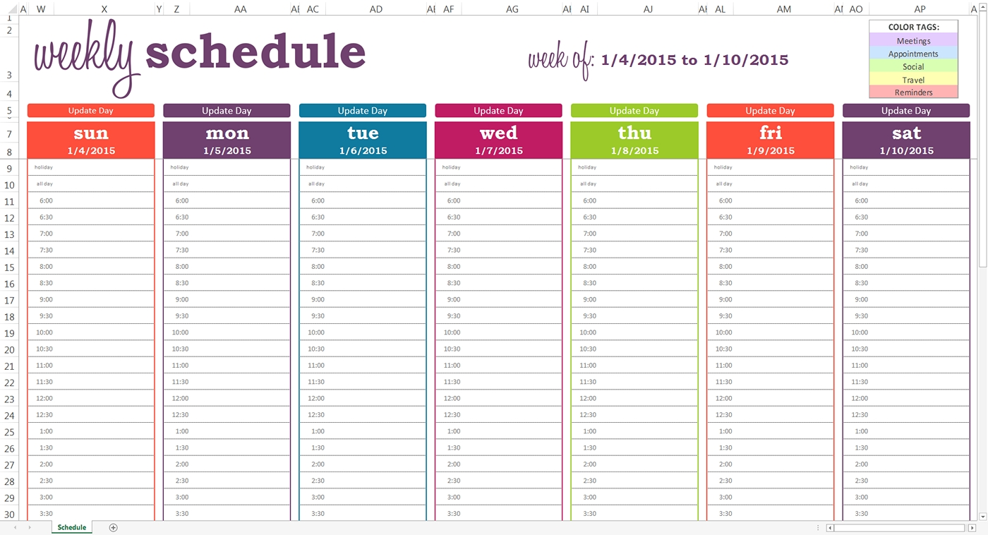 Take Weekly Appointment Schedule With Time Slots Template Printable