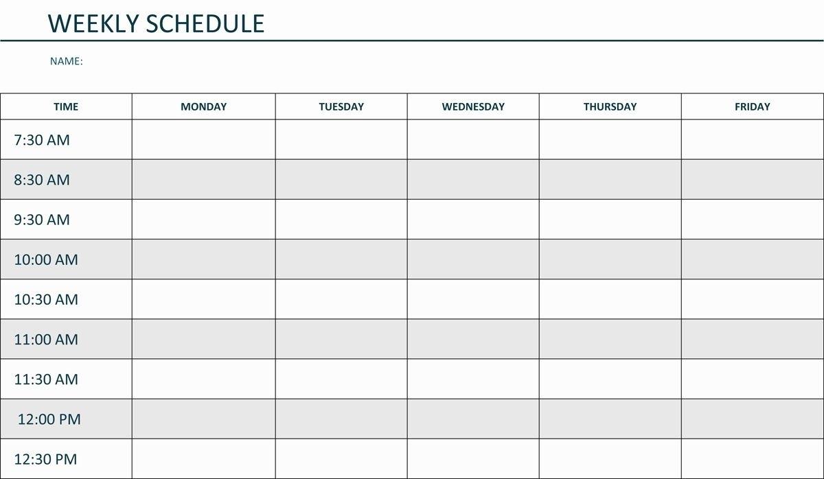 Take Weekly Calendar Am/Pm