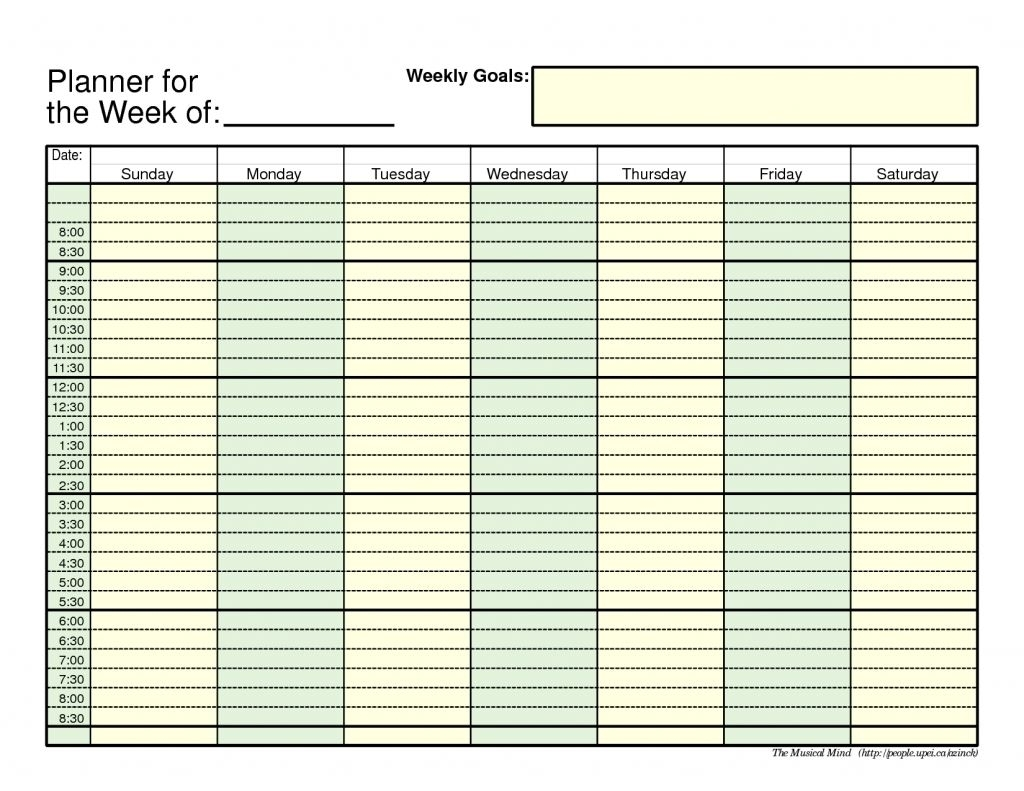 Take Weekly Planner With Time Slots