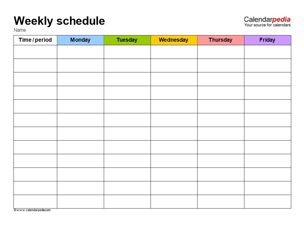 Take Weekly Schedule Template Editable