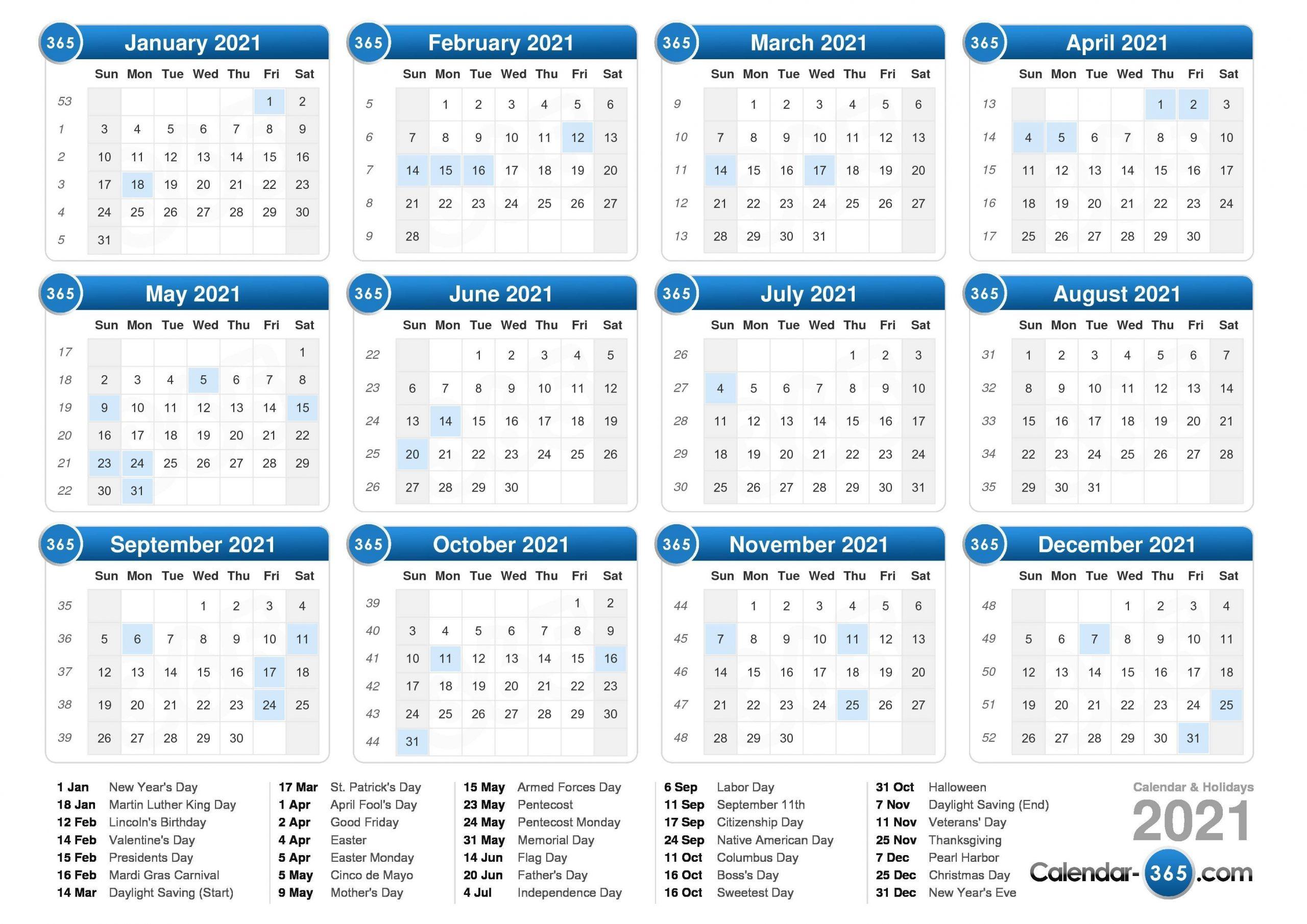 Take Work Week Calendar 2021