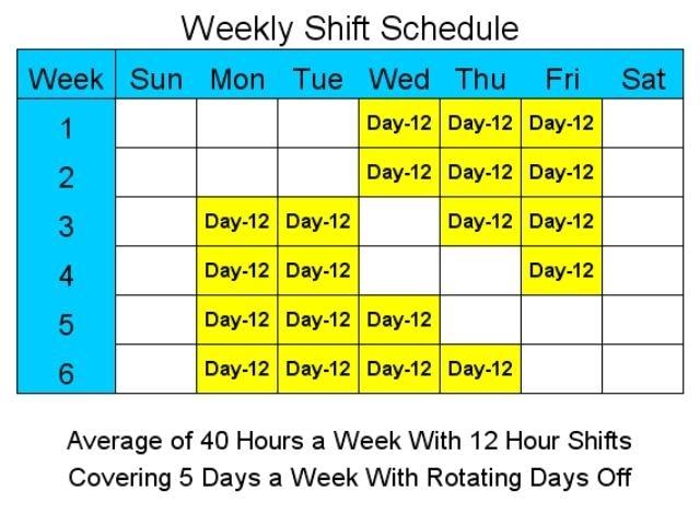 Catch 12 Hour Shift Schedule Template
