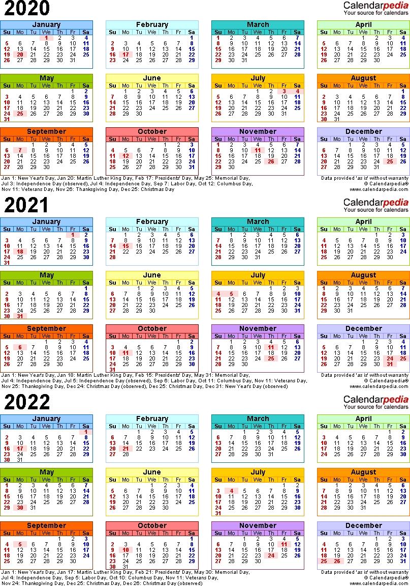Catch 3 Year Calendar Printable 2021 2021 2022