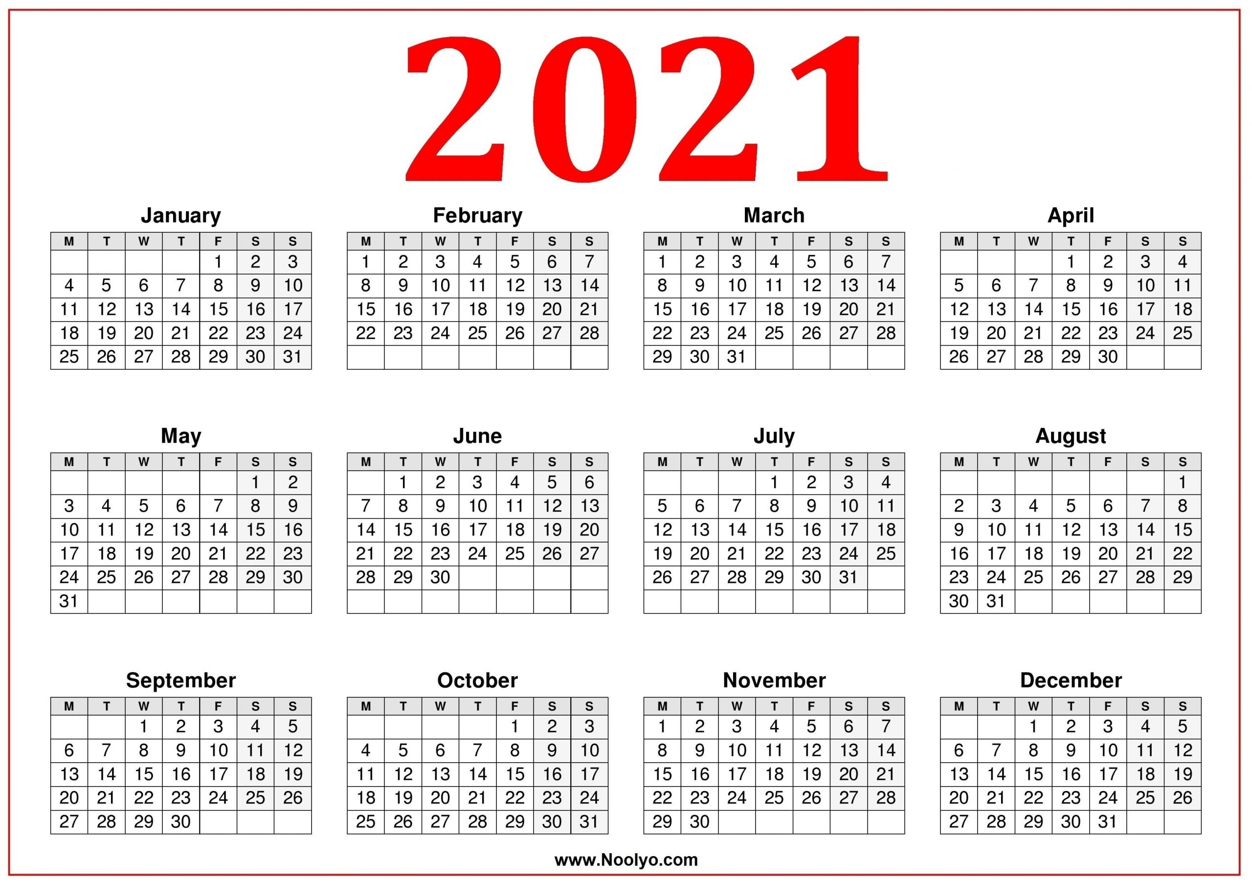 Catch Calendar 2021 Start With Monday