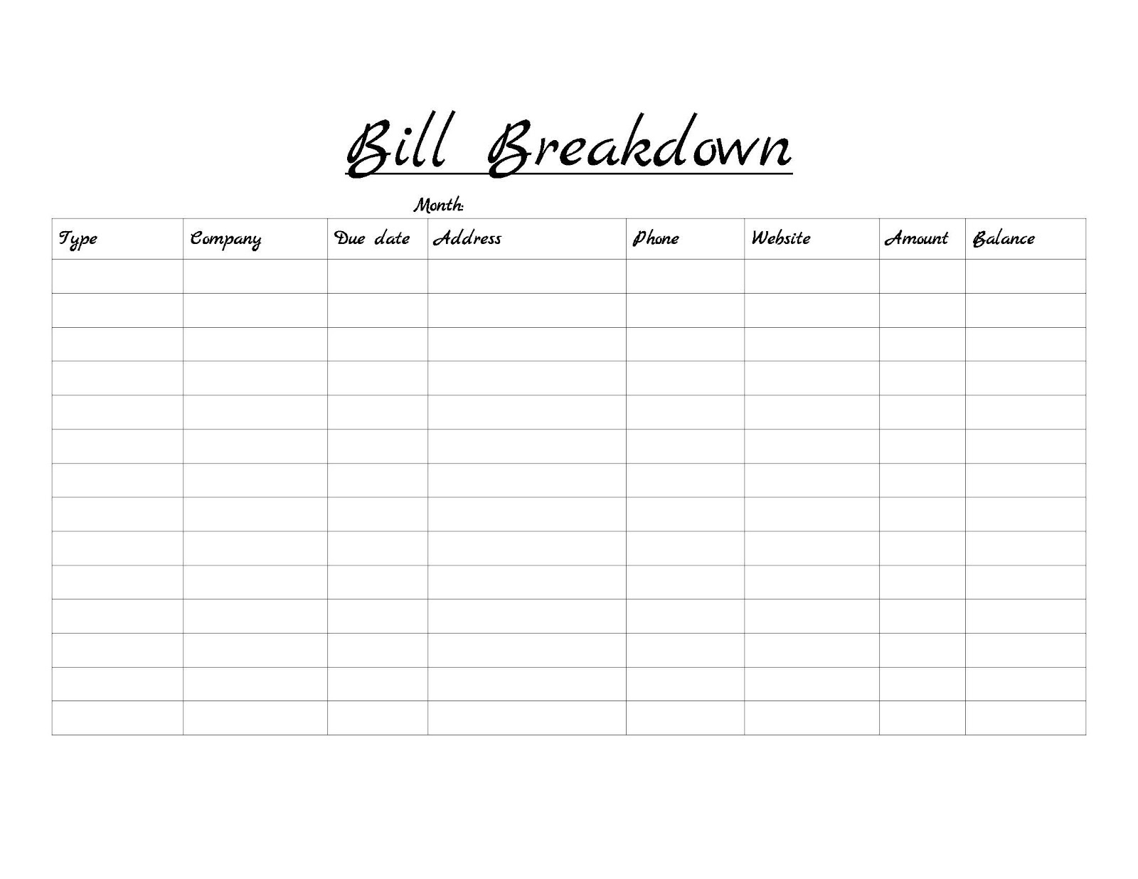 Catch Free Monthly Bill Payment Worksheet