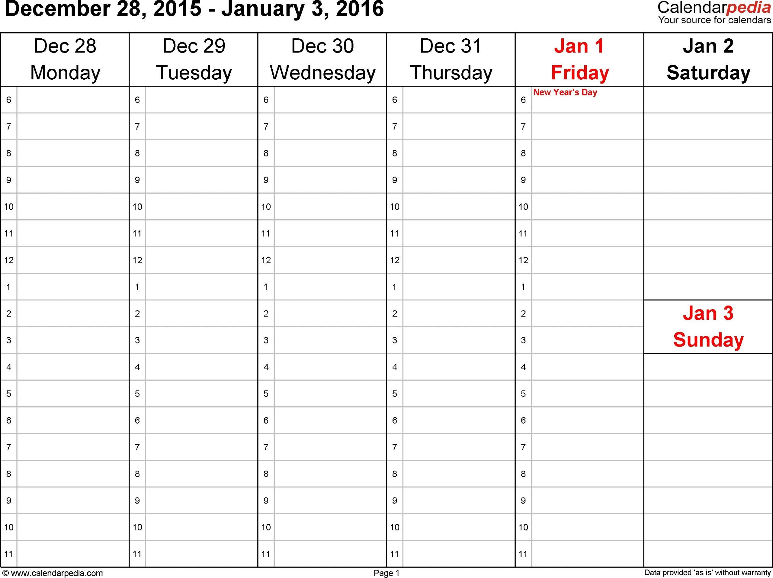 Catch Monday Thru Sunday Calendar By Business Hours