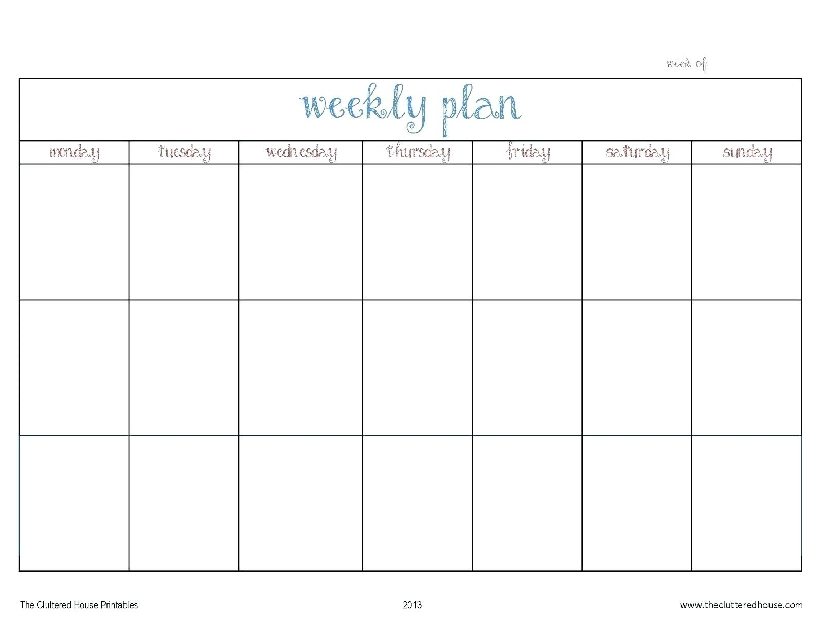 Catch Monday To Friday Weekly Calendar