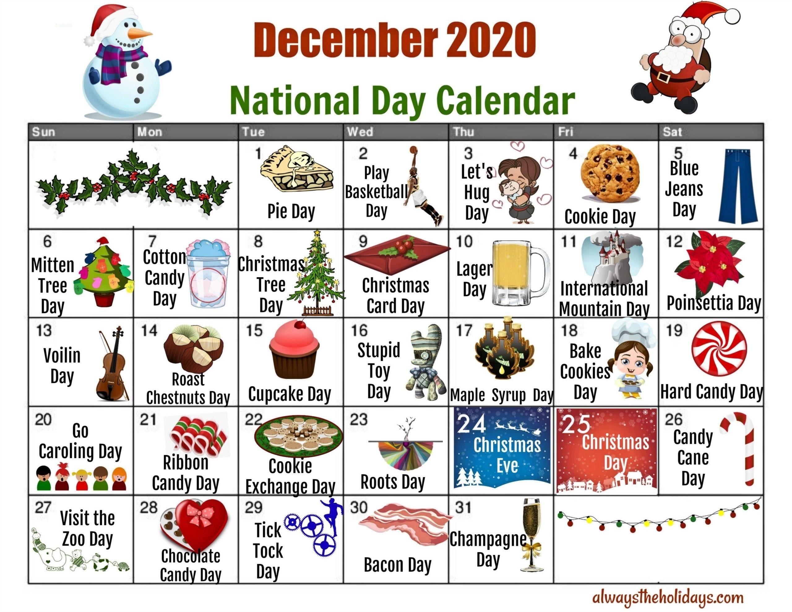 Catch Printable National Days Calendar 2021