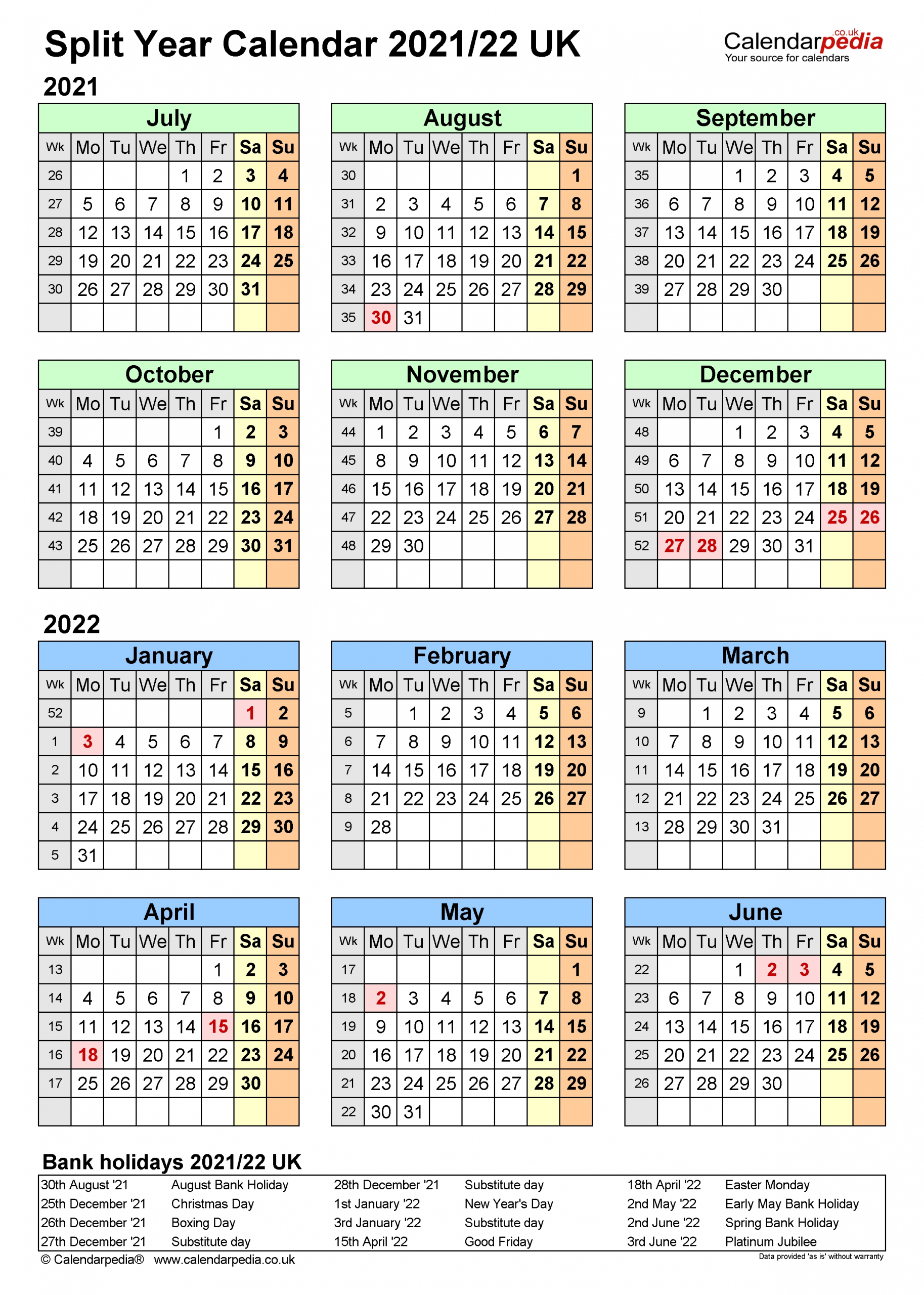 Collect 1St April New Financial Year Calendar Week Numbers