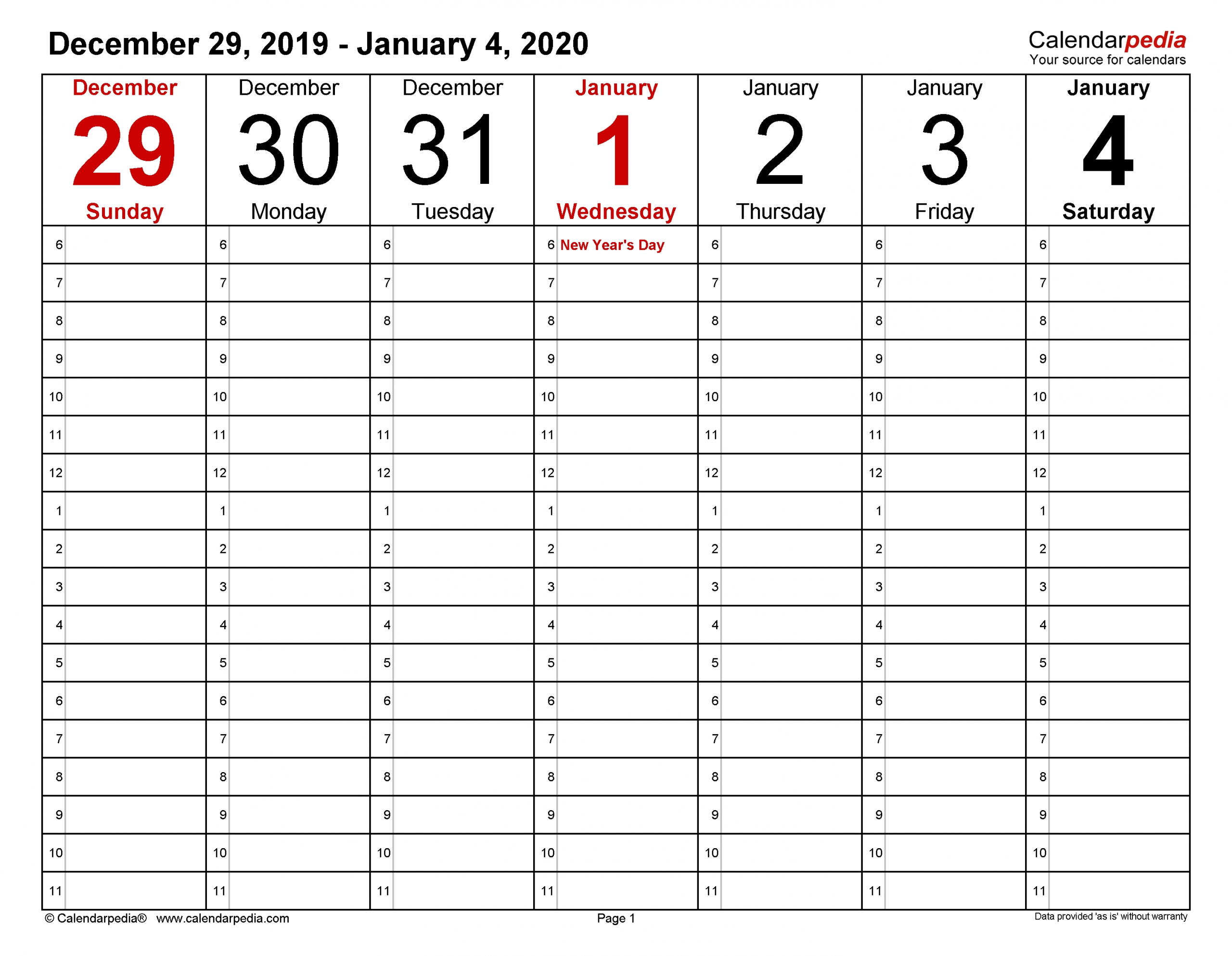 Collect 30 Day Calendar Page Download