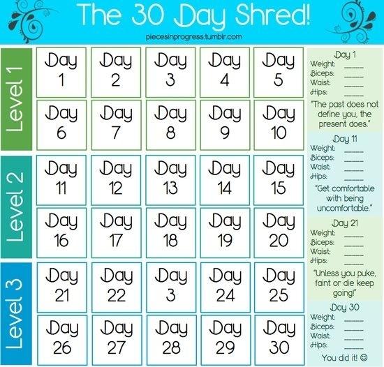 Collect 30 Day Printable Calendar
