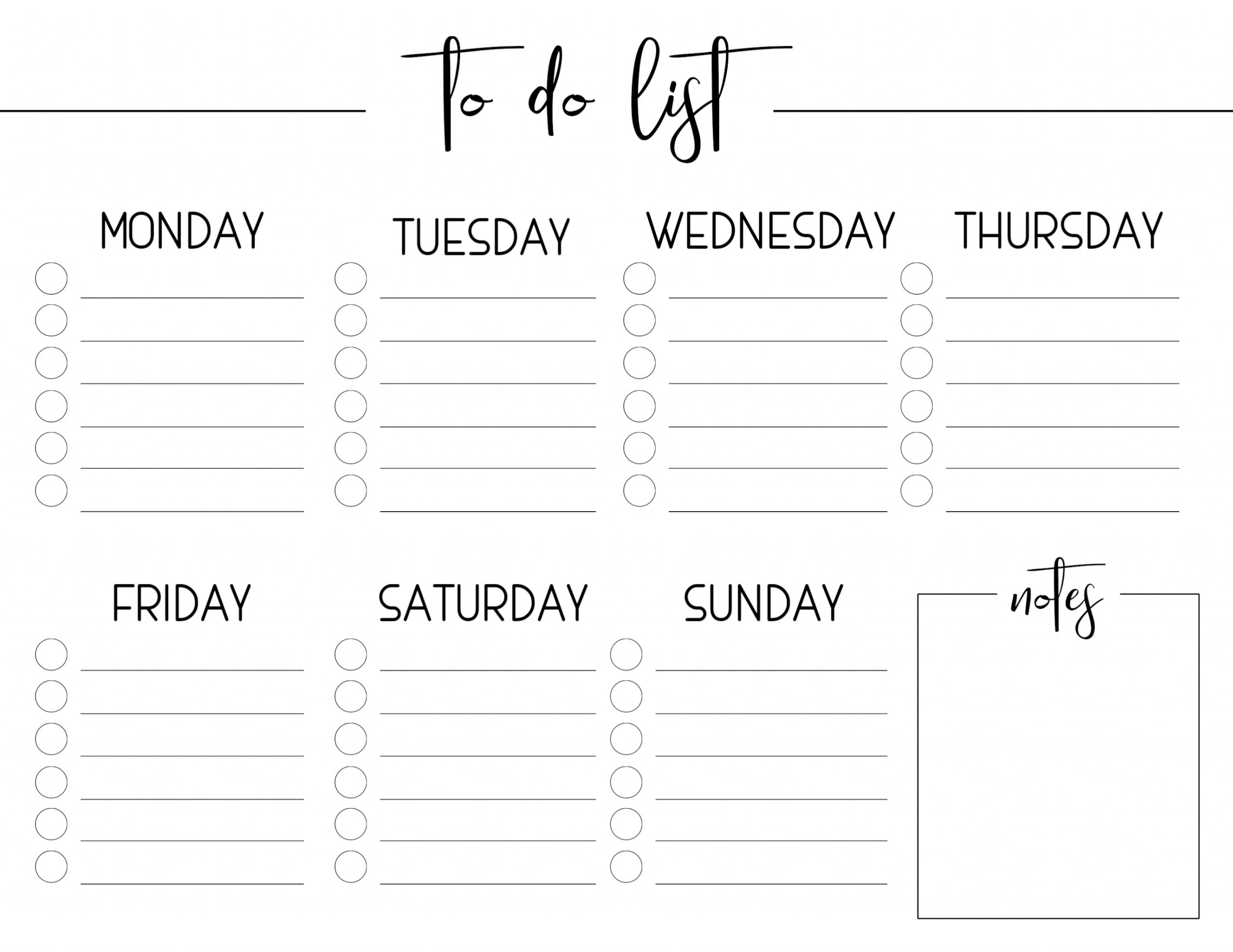 Collect Blank Monday – Friday To Do Checklist