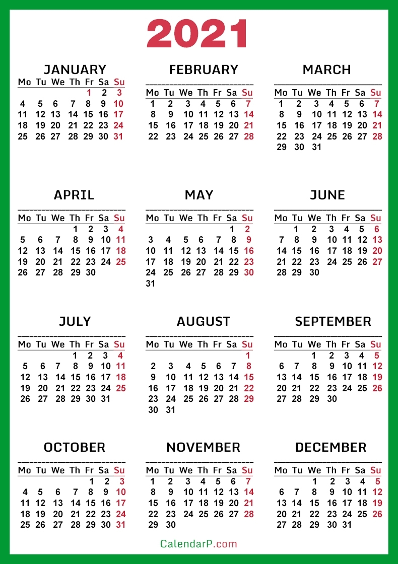 Collect Calendar 2021 Start With Monday
