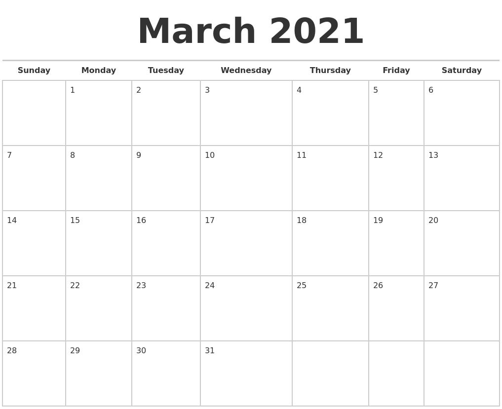 Collect Free Calendar 2021 Monday To Sunday
