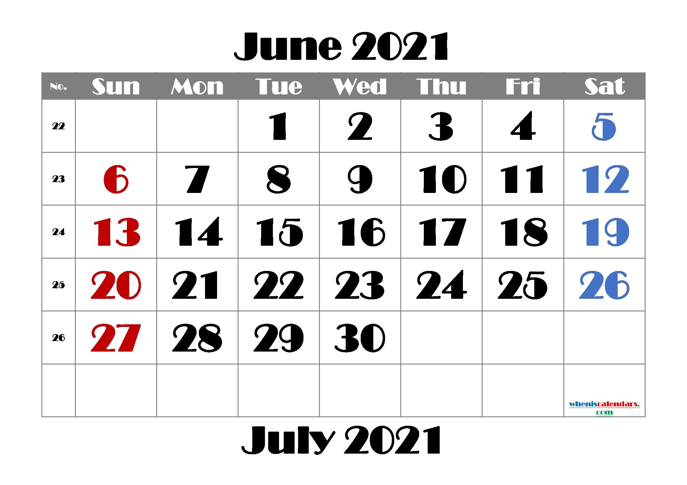 Collect June 2021 To June 2021 Calendar