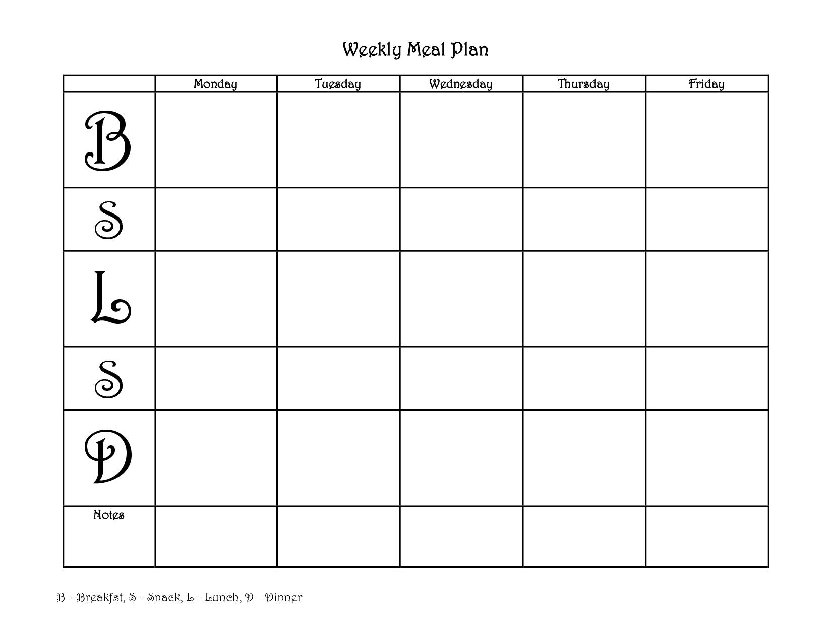 Collect Meal Plan Calendar Printable