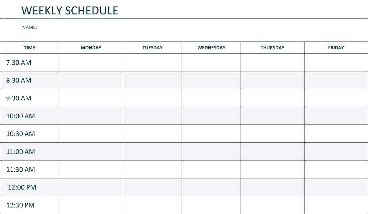Collect Monday Thru Sunday Calendar By Business Hours