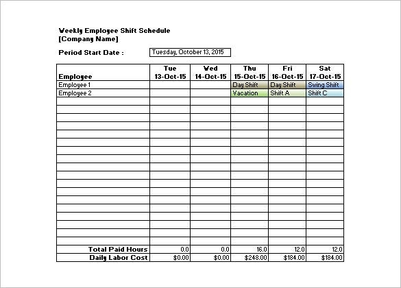 Collect Pitman 12 Hour Schedule Template