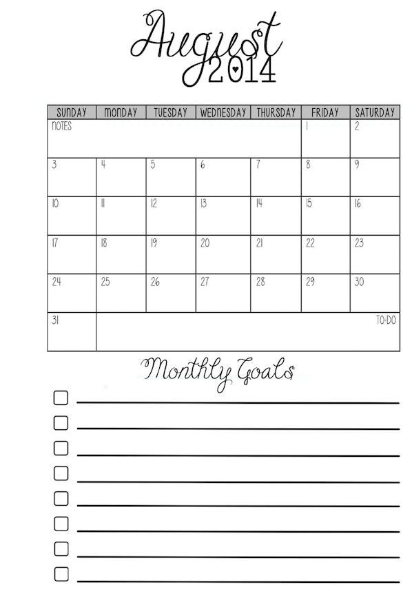 Collect Pocket Size Printable Calendar