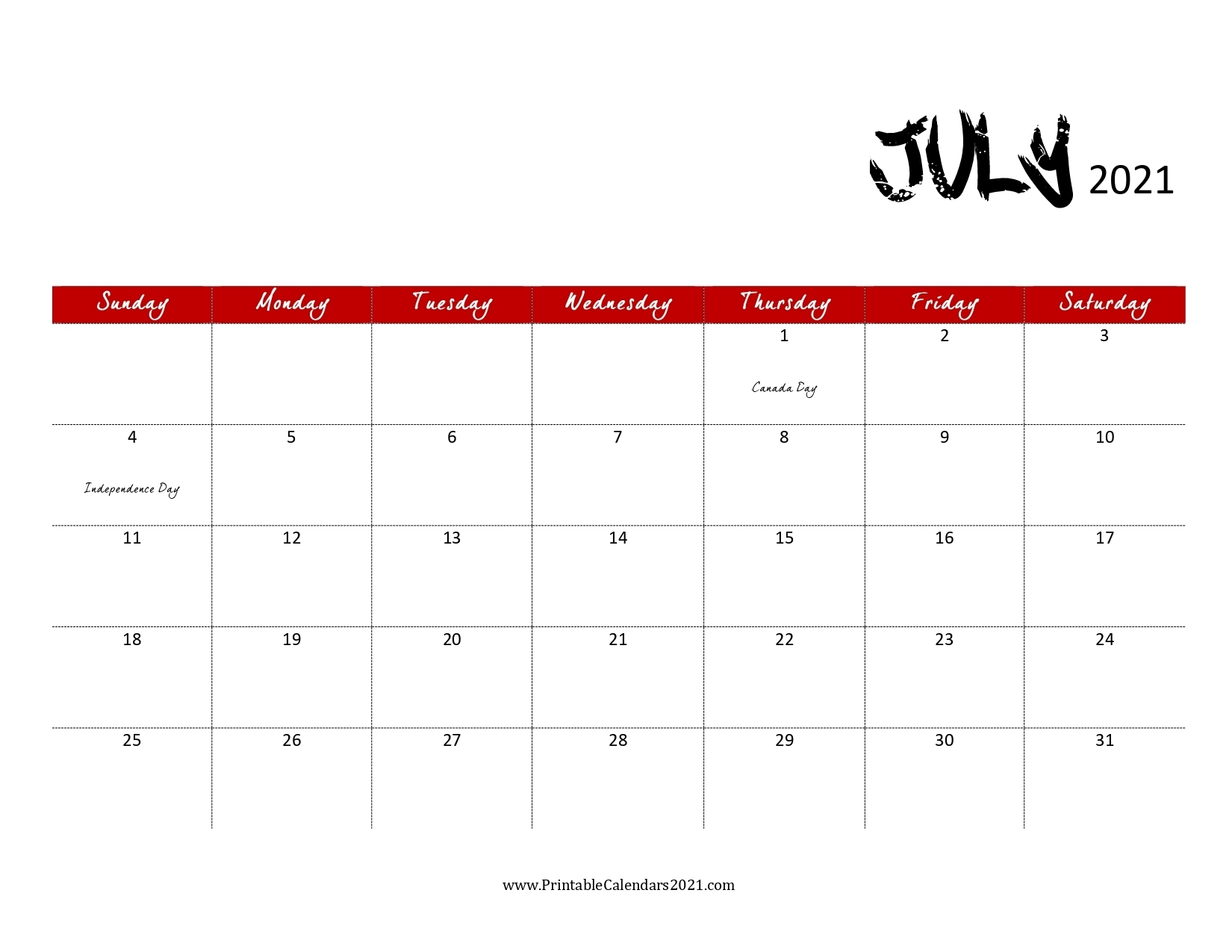 Collect Print Free July 2021 Calendar Without Downloading