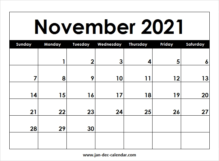 Collect Print Free November 2021 Calendar Without Downloading