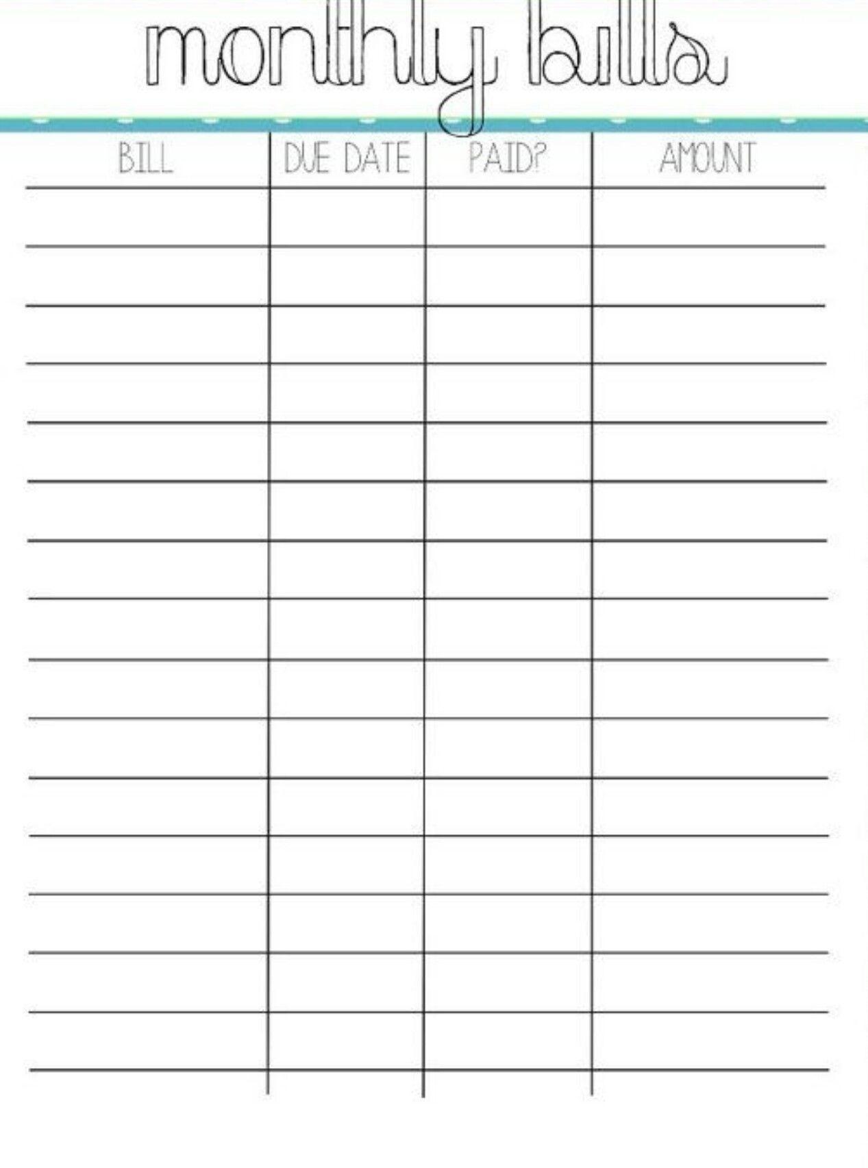 Collect Printable Bill Calendar Organizer