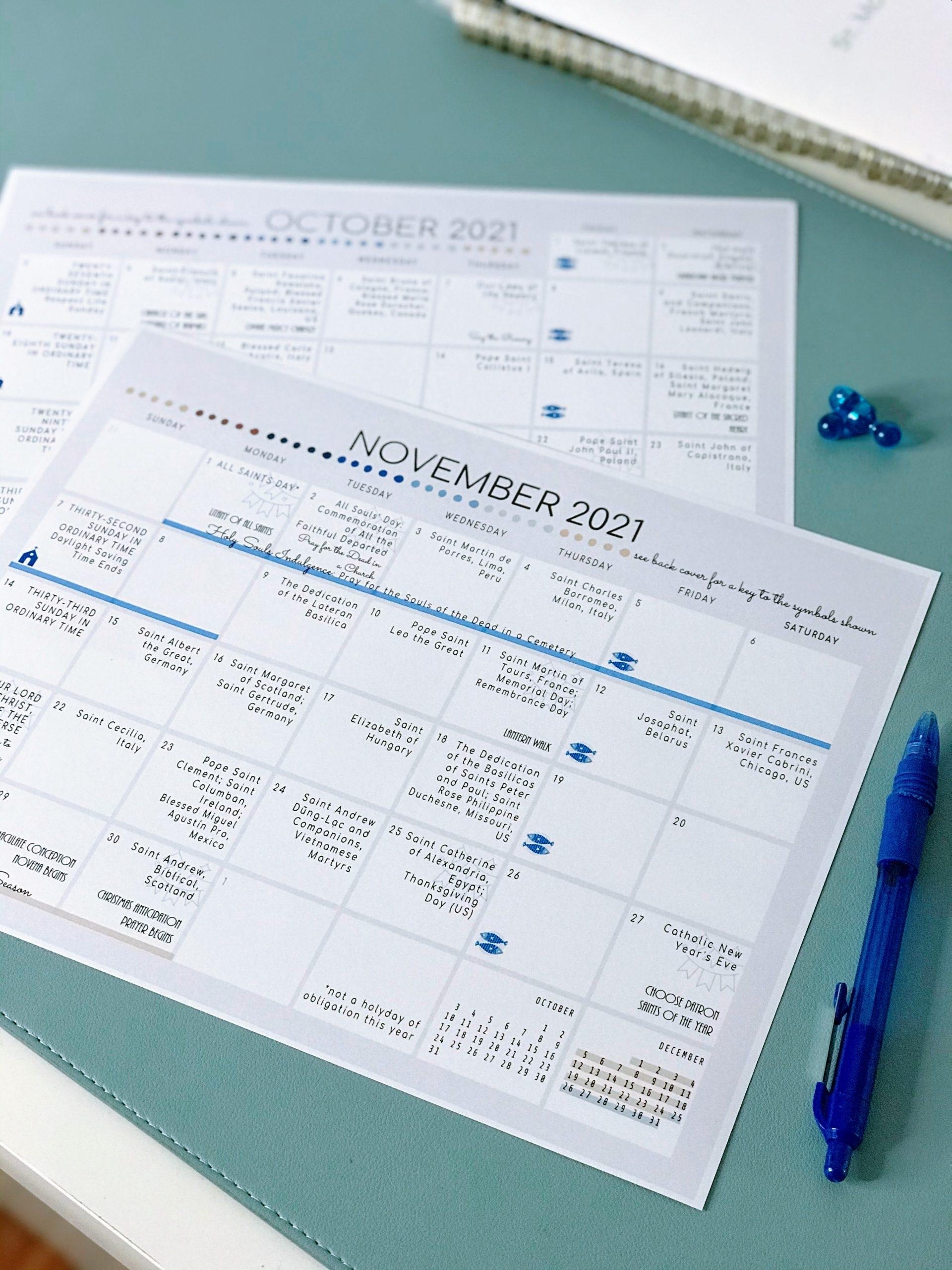 Collect Printable Catholic Liturgical Calendar 2021