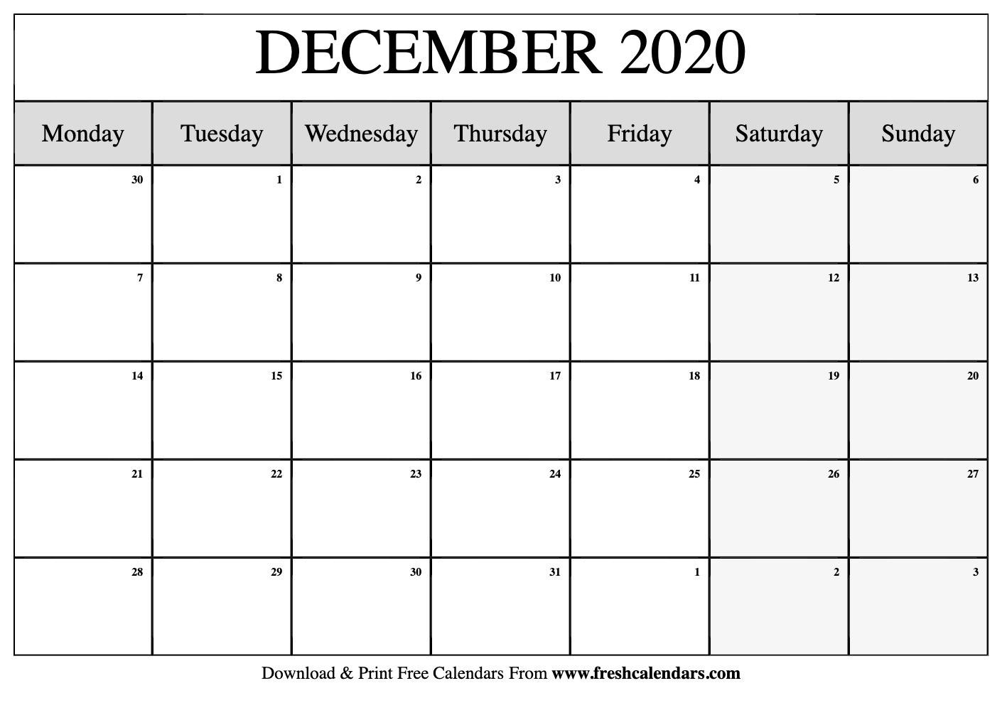 Collect Printable Monday Calendar Monday Start