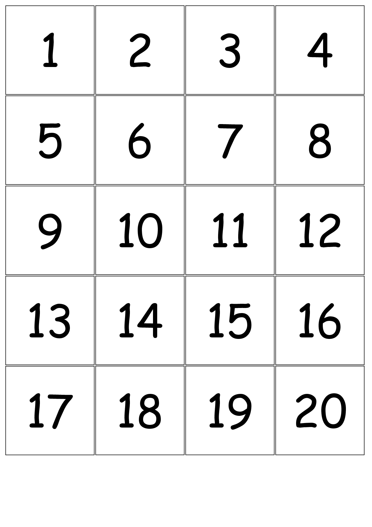 Collect Printable Numbers 1 31