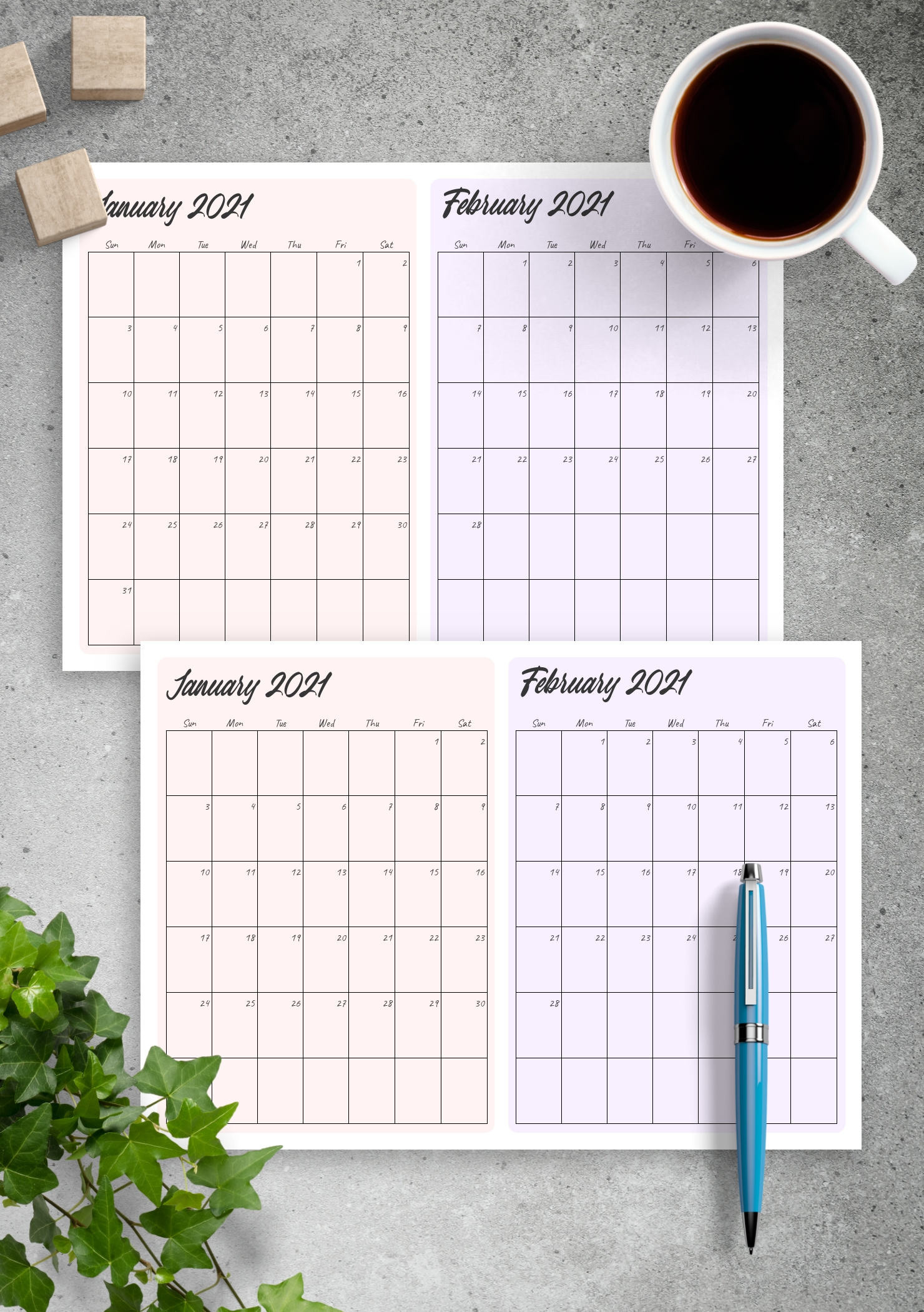 Collect Printable Two Month Calendar