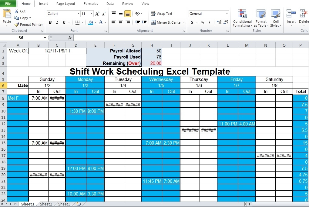 Collect Shift Planning Blank Calendar